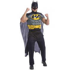 Batman Muscle Chest Kit Costume - You better leave the crime fighting to men! Batman Muscle Chest Kit includes a Batman muscle chest top with the Bat logo, black cape and .