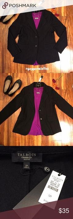 NWT Talbots Blazer NWT Talbots Blazer. Black. Faux pockets in the front. Chest measures 36 inches. Length is about 25.5 inches. 80% wool, 20% nylon. Has a fuzzy texture to it. Very warm! Pink shirt and necklace also available in my closet! Make an offer or bundle to save 15%! Talbots Jackets & Coats Blazers