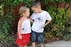 DIY Firework Shirts by themotherhuddle: The kids will love making these! #DIY #July_4 #Shirt