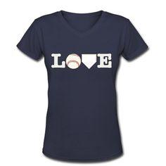 Love Baseball V-Neck T-Shirt | Spreadshirt | ID: 12252508