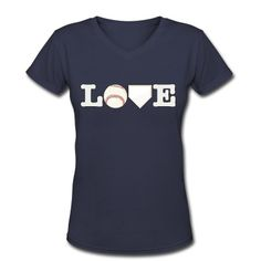 Love Baseball V-Neck T-Shirt | Spreadshirt | ID: 12252508 (Idea to use logo to sign card this way)