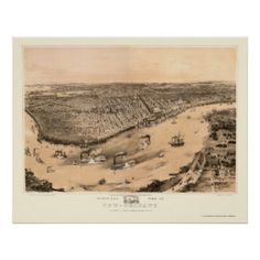 New Orleans, LA Panoramic Map - 1851 Posters
