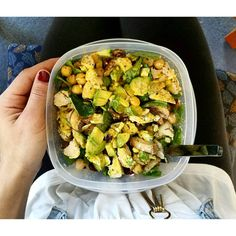 https://www.instagram.com/p/BM7TZFShcDD/ Salads don't have to be boring!  Spinach, chicken, garbanzo beans, cranberries, mixed nuts, avocado, mushrooms, mediterranean-style feta cheese, and curry yogurt dressing