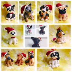Handmade polymer clay dog ornaments. All made with Sculpey Premo Clay. Please…