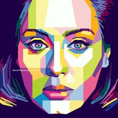 WPAP (Wedha's Pop Art Portrait) is original pop art from Indonesia ❤ The founder is Wedha Abdul Rasyid If you interest with my artwork, you can s. Adele in WPAP L'art Du Portrait, Abstract Portrait, Abstract Art, Pop Art Dibujos, Portraits Pop Art, Pop Art Images, Cubism Art, Art Anime, Typography Art