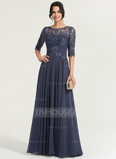 A-Line/Princess Scoop Neck Floor-Length Chiffon Evening Dress With Sequins - Evening Dresses - JJ's House Brides Mom Dress, Mother Of The Bride Dresses Long, Mothers Dresses, Jj Dresses, Dressy Dresses, Fashion Dresses, Chiffon Evening Dresses, Evening Gowns, Vestidos Mob