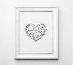 Geometric Heart Wall Art Illustration. This listing is for an INSTANT DIGITAL DOWNLOAD of this artwork. No Physical Item will be sent. Print instantly from home, at your local print shop or by uploading it to an online service. Youll receive 5 High Resolution (300dpi) JPG files that will