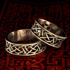 Celtic Wedding Ring Set With Open Cut-Through Knotwork Design in Sterling Silver, Made in Your Size CR-55SET. $104.00, via Etsy.