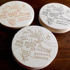 Letterpress Nashville Tennessee Map Coasters