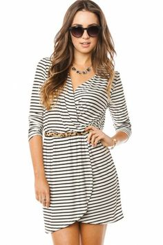 cute casual dress - love black and white stripes with the leopard print belt