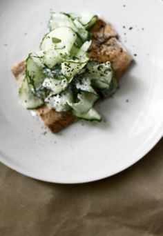 Salmon with Cucumber Dressing.