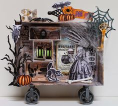 my version of the Composition Box by Gina's Designs.  To go with this set, you can choose whichever numbers you would like.  Halloween is my favorite time of the year to scrap.  There are so many fun Halloween themes, and it's so hard to chose between witches, vamps, zombies, and other ghoulish themes,  that I usually end up making many projects during the Autumn months.  I knew as soon as Gina designed this awesome piece, exactly which numbers I'd choose.