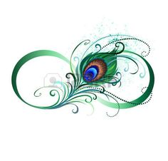peacock feathers: The symbol of infinity with a bright, green, artistic peacock feather on a white background. Tattoo style. Illustration