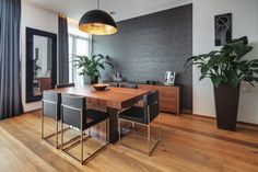 Grey gold brown wood dining room