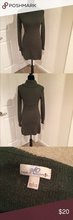 Anthropology-style sweater dress Incredibly flattering! Great for Fall and Winter! ❄️🍂 dark, deep green. Color in picture is true to dress color (so long as your screen colors are not adjusted) Dresses Midi