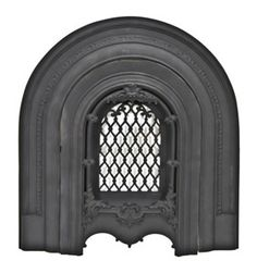 completely intact late 1860's ornamental cast iron arched top interior marble mantle surround with summer cover