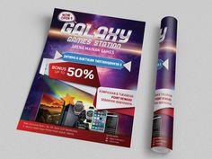 Desain Brosur Galaxy Games Station oleh www.SimpleStudioOnline.com | Order desain brosur profesional >> WA : 0813-8650-8696