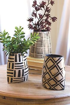 Kalalou Black And White Oval Vases With Geometric Designs - Set Of 3 - Comes in Set of Black & White Oval Vases with Geometric Designs by Kalalou.