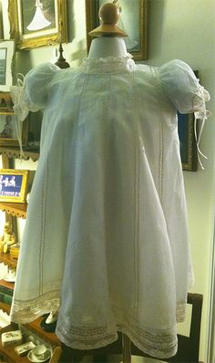 Jane Cely: Exquisite Swiss Muslin Heirloom Dress w/Champagne Lace (11-18-13)