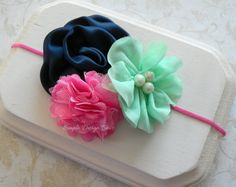 Baby Headband - Elastic Headband - Flower Headband - Photography Prop - Newborn Headband - Baby Girl Headband - Navy, Mint and Pink Headband on Etsy, $13.95
