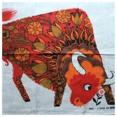 Vintage 1970s Unused Pure Irish Linen Belinda Lyon For Oxfam Psychedelic Bull…