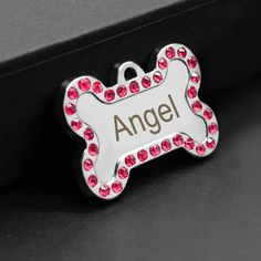 Didog Rhinestone Custom Pet ID Tags Bone ShapeFree Engraved and Gifts Bone ShapePink * You can discover more details at the web link of the image. (This is an affiliate link).