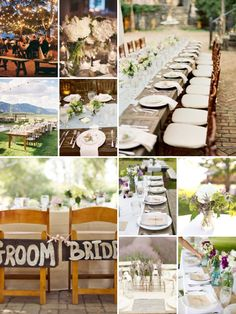Wedding Reception Ideas. Wood tables, crisp white linens, pretty flowers in subdued vases...aww summer lovin'.