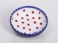 Thanksgiving Bowl / Red White Blue Spotted Breakfast Dish / Polka Dot / Polish Pottery / 4th July. $28.00, via Etsy.