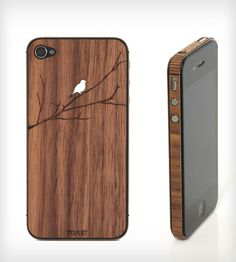 Bird On Branch Wood iPhone 4/4S/5 Stick-On Cover | Add a little nature back into your life with this real wood iP... | Mobile Phone Cases