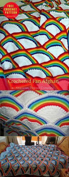 Crocheted Fan Afghan [Free Pattern] | My Hobby Written. How to Crochet Afghan. US Terms. Author: American Thread Company yarn: American Thread Company Dawn Knitting Worsted / Worsted (9 wpi) Hook: 4.0 mm/G #crochet #crochetblanket #freepattern
