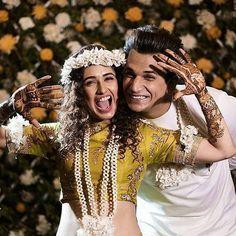 Prince Narula and Yuvika Chaudhary Mehendi ceremony Couple Wedding Dress, Wedding Dresses For Girls, Pre Wedding Photoshoot, Wedding Poses, Wedding Shoot, Indian Wedding Photography Poses, Couple Photography Poses, Yuvika Chaudhary, Indian Wedding Pictures
