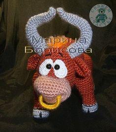 Makes me think of Ferdinand the Bull. Crochet Cow, Crochet Amigurumi, Crochet Doll Pattern, Crochet Books, Amigurumi Patterns, Crochet Animals, Crochet For Kids, Crochet Yarn, Antlers