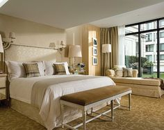 The Terrace Suite bedroom has a private terrace, an oversized walk-in wardrobe and a large en-suite bathroom