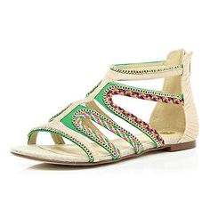 green beaded strappy sandals