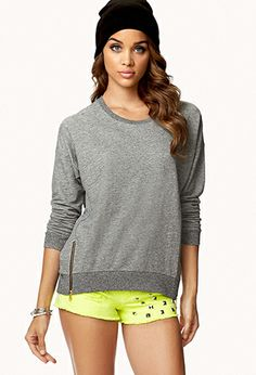 Zippered Slouchy Sweatshirt | FOREVER21 - 2058922984