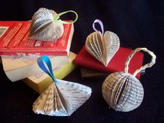 book ornaments. No instructions. Looks like  she used half a paperback book with a template just like the pumpkins and pears.