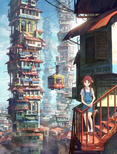 Retro-futuristic Malaysian old town - warm, rustic and full of kampung charm  | Colour of Scenery by Fei Giap, a Malaysian illustrator