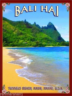Bali-Hai-Tunnels-Beach-Hawaii-Kauai-United-States-Travel-Advertisement-Poster