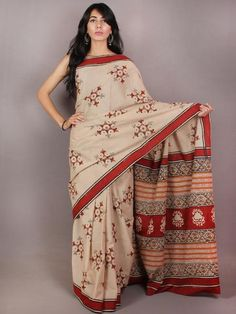 Beige Red Orange Hand Block Printed in Natural Colors Cotton Mul Saree - S03170718