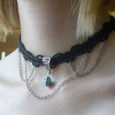Black lace ribbon necklace with skull pendant and chains. Learn to make your own unique choker necklace at one of our workshops in Bath or Bristol.