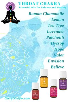 THROAT CHAKRA – Center of communication, thoughts, & emotions   Singles Roman Chamomile Lemon Tea Tree Lavender Patchouli Hyssop Blends Hope Valor Envision Believe Apply to throat area
