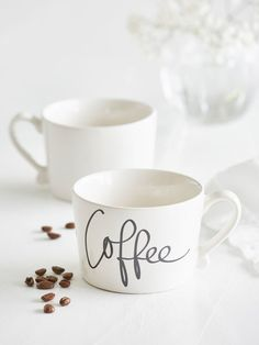 The elegant curves of this beautiful typography mug, simply demand that it be cradled in your hands - perfect to warm your hands at the same time! Kitchen Accessories, Coffee Mugs, Curves, Typography, Hands, Warm, Ceramics, Elegant, Tableware