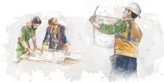 O rei Davi mostra o projeto do templo para um homem; um irmão olha um projeto de construção