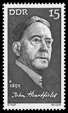 John Heartfield - Wikipedia, the free encyclopedia John Heartfield, Moholy Nagy, East Germany, Daily Drawing, Life Cycles, Postage Stamps, Modern Art, Black And Grey, The Incredibles