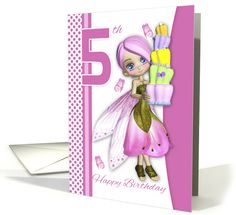 5th Birthday Tipsy Cake Fantasy Fairy Cutie Pie card (1289220)