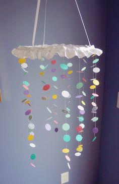 Baby nursery polka dot DIY mobile. Aqua, pink, purple, white, silver