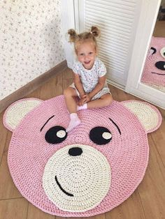 Crochet rag rug, Play room decor, Woodland nursery rug, Nursery rug - Care - Skin care , beauty ideas and skin care tips Crochet Mat, Crochet Rug Patterns, Crochet Carpet, Crochet Home, Bear Blanket, Bear Rug, Animal Rug, Nursery Rugs, Playroom Decor