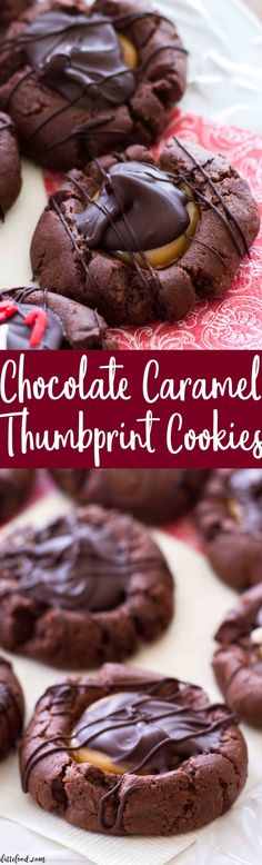 Chocolate Caramel Thumbprint Cookies: These addicting homemade chocolate thumbprint cookies blend chocolate and caramel together to make an amazing dessert/midnight snack. Tomato/Tomahto. Rich, sweet, and practically perfect in every way. Perfect Thanksgiving dessert or Christmas cookie recipe!