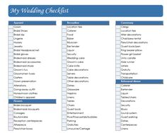 Awesome Detailed Wedding Planning Checklist  Wedding Planning