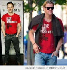 "Can I get one that says ""I love you both"" ?Tom Hiddleston and Chris Hemsworth"